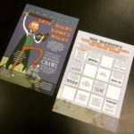 "An A6-sized flyer for the comedy event ""Ben McKenzie's Late Night Games Night"", including a playable board game printed on the back."