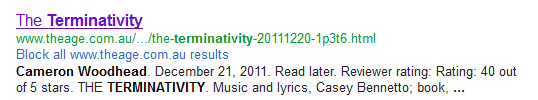 Terminiativity review Google search result